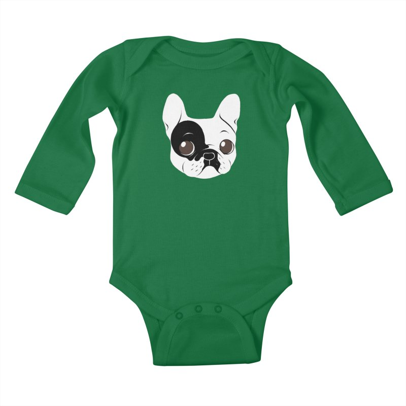 Single Hooded Pied French Bulldog Puppy Kids Baby Longsleeve Bodysuit by Emotional Frenchies - Cute French Bulldog T-shirts