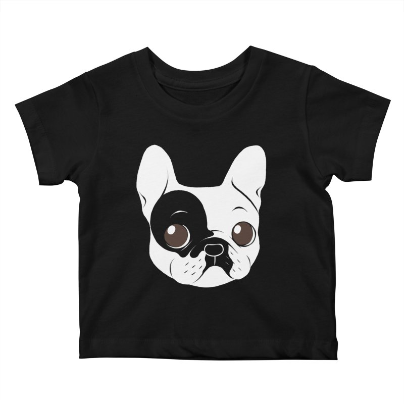 Single Hooded Pied French Bulldog Puppy Kids Baby T-Shirt by Emotional Frenchies - Cute French Bulldog T-shirts