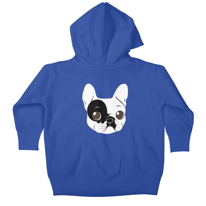 Single Hooded Pied French Bulldog Puppy Kids Baby Zip-Up Hoody by Emotional Frenchies - Cute French Bulldog T-shirts