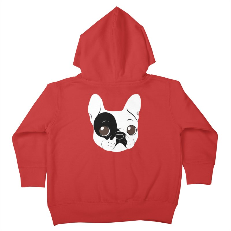 Single Hooded Pied French Bulldog Puppy Kids Toddler Zip-Up Hoody by Emotional Frenchies - Cute French Bulldog T-shirts