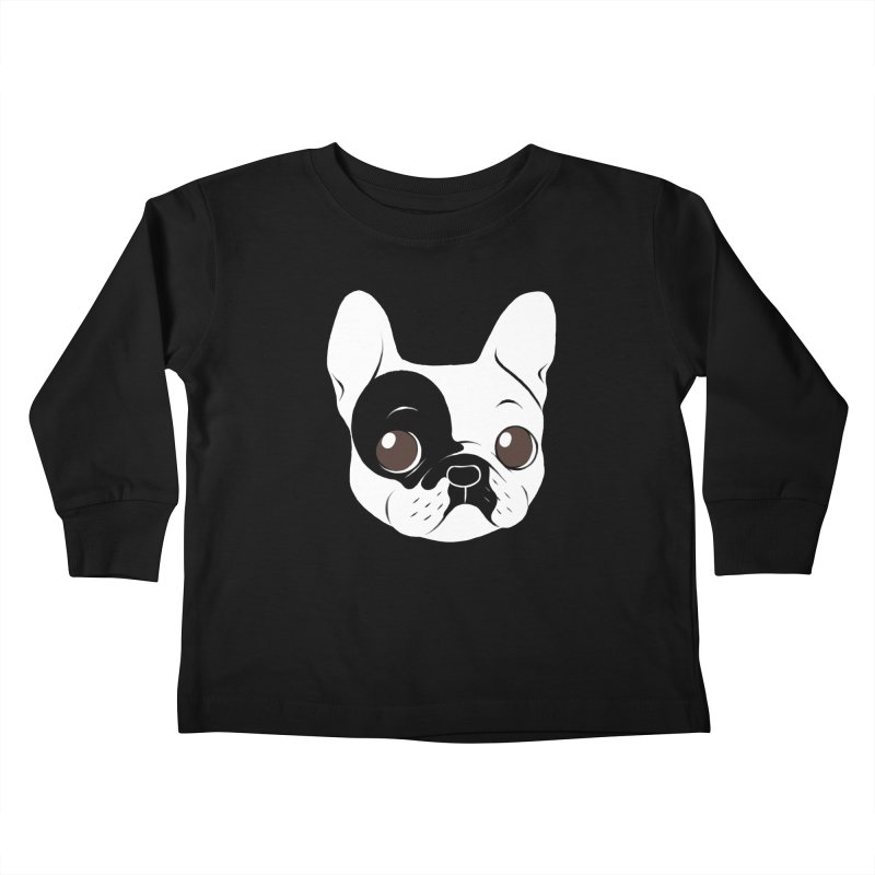 Single Hooded Pied French Bulldog Puppy Kids Toddler Longsleeve T-Shirt by Emotional Frenchies - Cute French Bulldog T-shirts