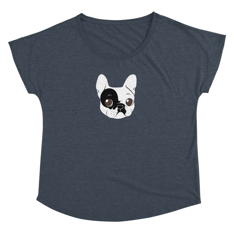 Single Hooded Pied French Bulldog Puppy Women's Dolman Scoop Neck by Emotional Frenchies - Cute French Bulldog T-shirts