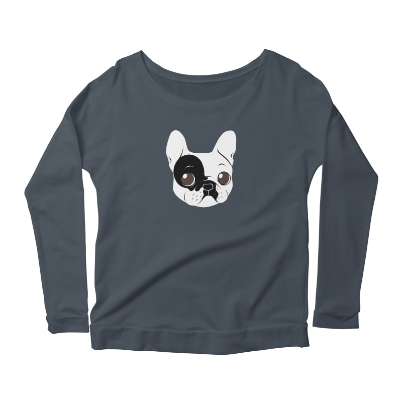 Single Hooded Pied French Bulldog Puppy Women's Scoop Neck Longsleeve T-Shirt by Emotional Frenchies - Cute French Bulldog T-shirts