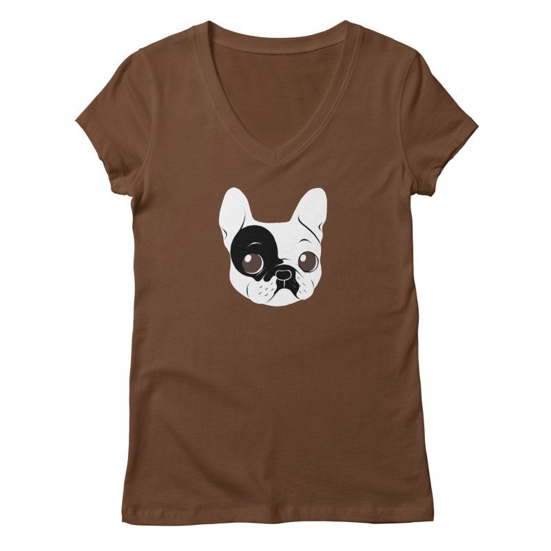 Single Hooded Pied French Bulldog Puppy Women's Regular V-Neck by Emotional Frenchies - Cute French Bulldog T-shirts