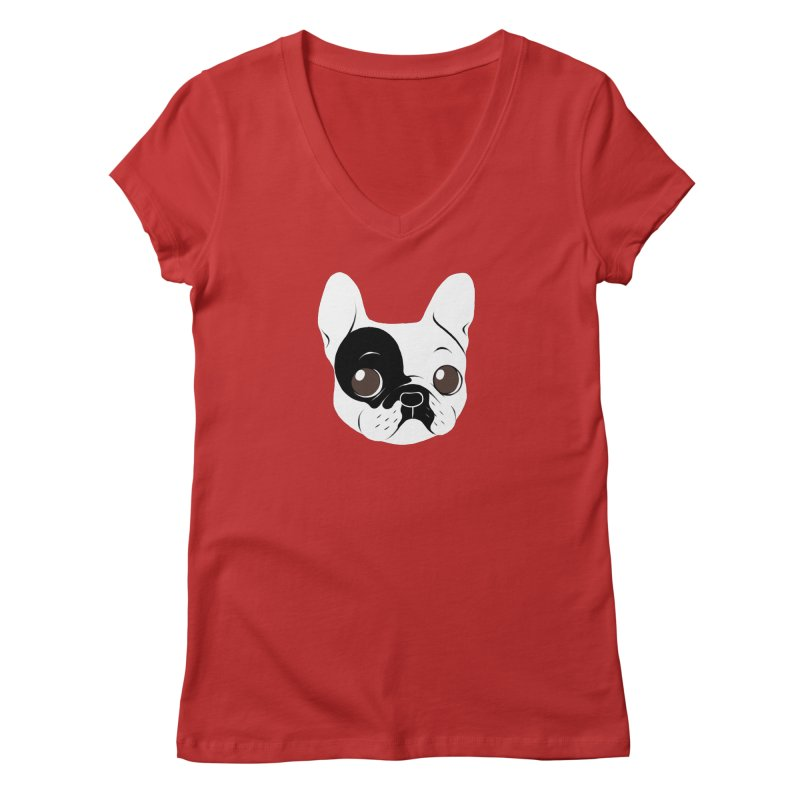 Single Hooded Pied French Bulldog Puppy Women's Regular V-Neck by Emotional Frenchies - Cute French Bulldog T-shirts