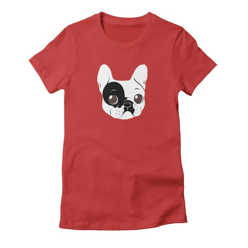 Single Hooded Pied French Bulldog Puppy Women's Fitted T-Shirt by Emotional Frenchies - Cute French Bulldog T-shirts