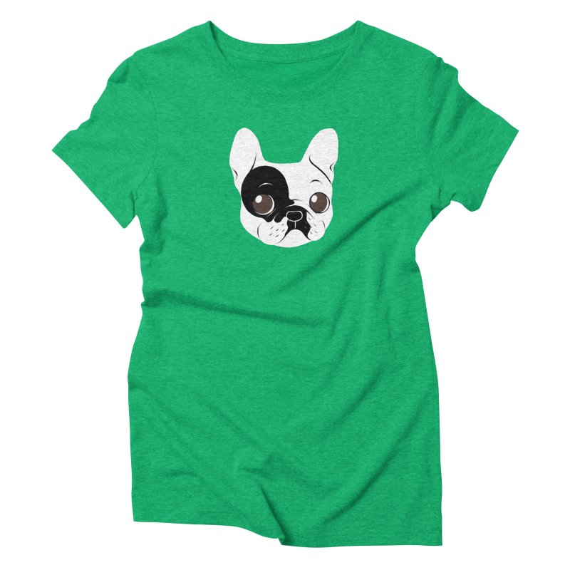 Single Hooded Pied French Bulldog Puppy Women's Triblend T-Shirt by Emotional Frenchies - Cute French Bulldog T-shirts