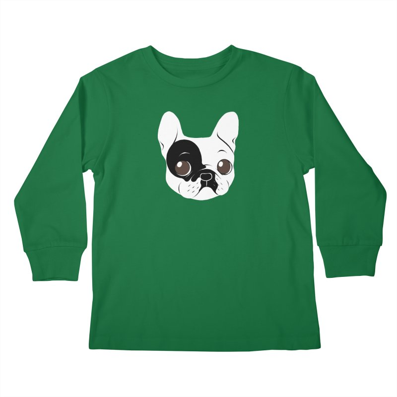 Single Hooded Pied French Bulldog Puppy Kids Longsleeve T-Shirt by Emotional Frenchies - Cute French Bulldog T-shirts