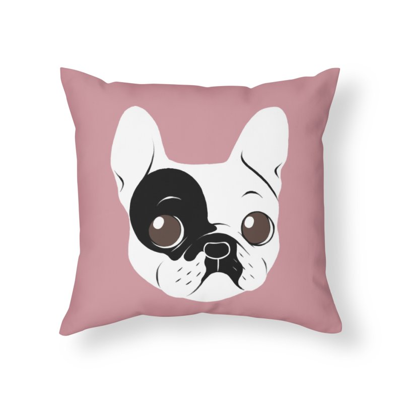 Single Hooded Pied French Bulldog Puppy Home Throw Pillow by Emotional Frenchies - Cute French Bulldog T-shirts