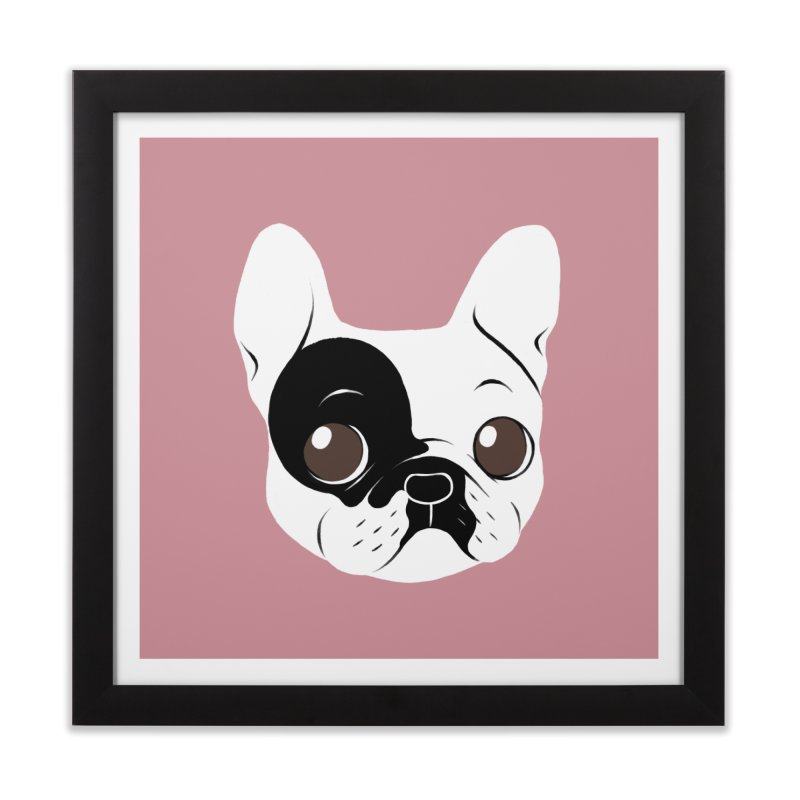 Single Hooded Pied French Bulldog Puppy Home Framed Fine Art Print by Emotional Frenchies - Cute French Bulldog T-shirts