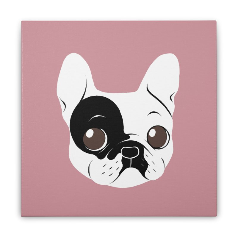 Single Hooded Pied French Bulldog Puppy Home Stretched Canvas by Emotional Frenchies - Cute French Bulldog T-shirts