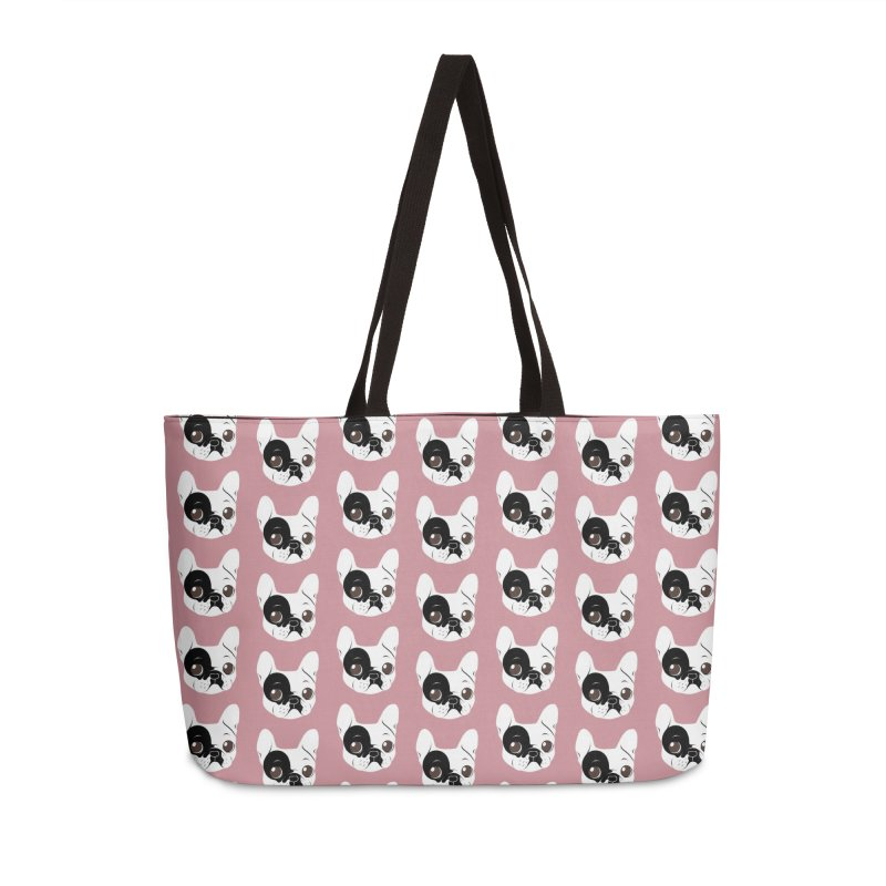 Single Hooded Pied French Bulldog Puppy Accessories Weekender Bag Bag by Emotional Frenchies - Cute French Bulldog T-shirts