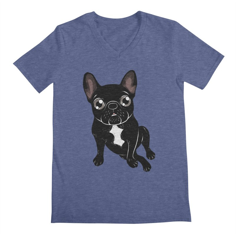 Cute brindle Frenchie is your best friend Men's Regular V-Neck by Emotional Frenchies - Cute French Bulldog T-shirts