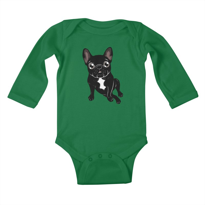 Cute brindle Frenchie is your best friend in Kids Baby Longsleeve Bodysuit Kelly Green by Emotional Frenchies - Cute French Bulldog T-shirts