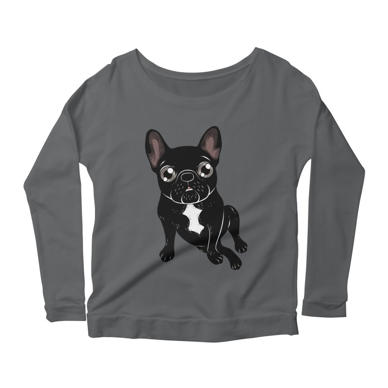 Cute brindle Frenchie is your best friend Women's Scoop Neck Longsleeve T-Shirt by Emotional Frenchies - Cute French Bulldog T-shirts