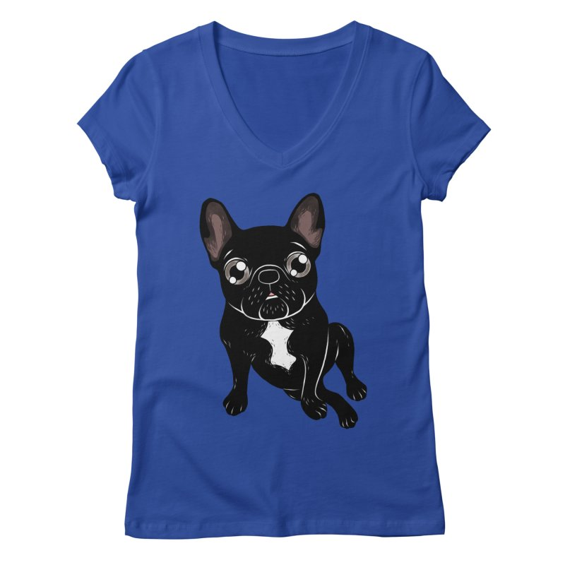 Cute brindle Frenchie is your best friend Women's Regular V-Neck by Emotional Frenchies - Cute French Bulldog T-shirts