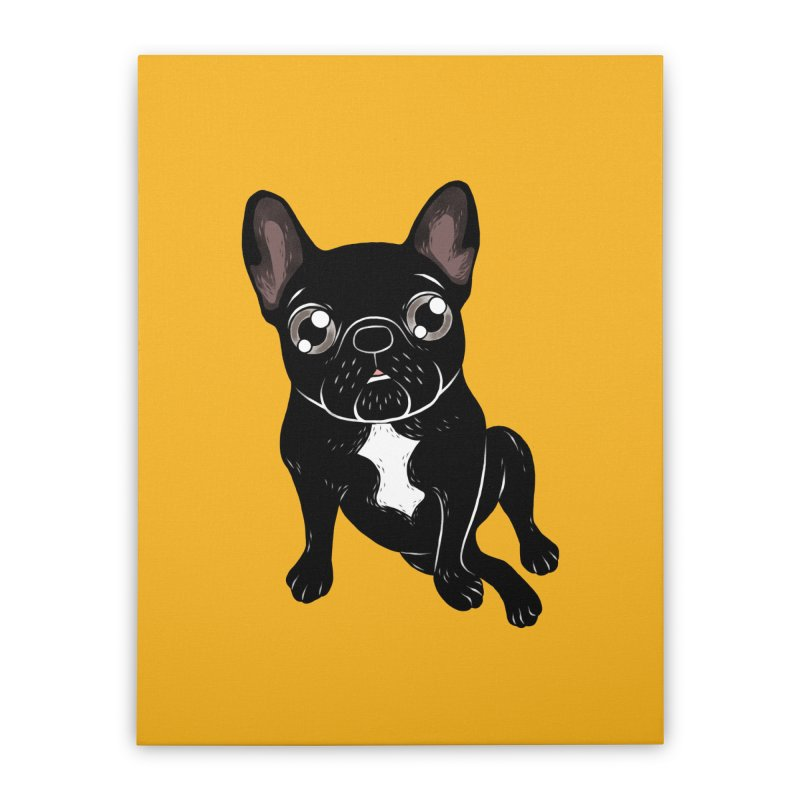 Cute brindle Frenchie is your best friend Home Stretched Canvas by Emotional Frenchies - Cute French Bulldog T-shirts