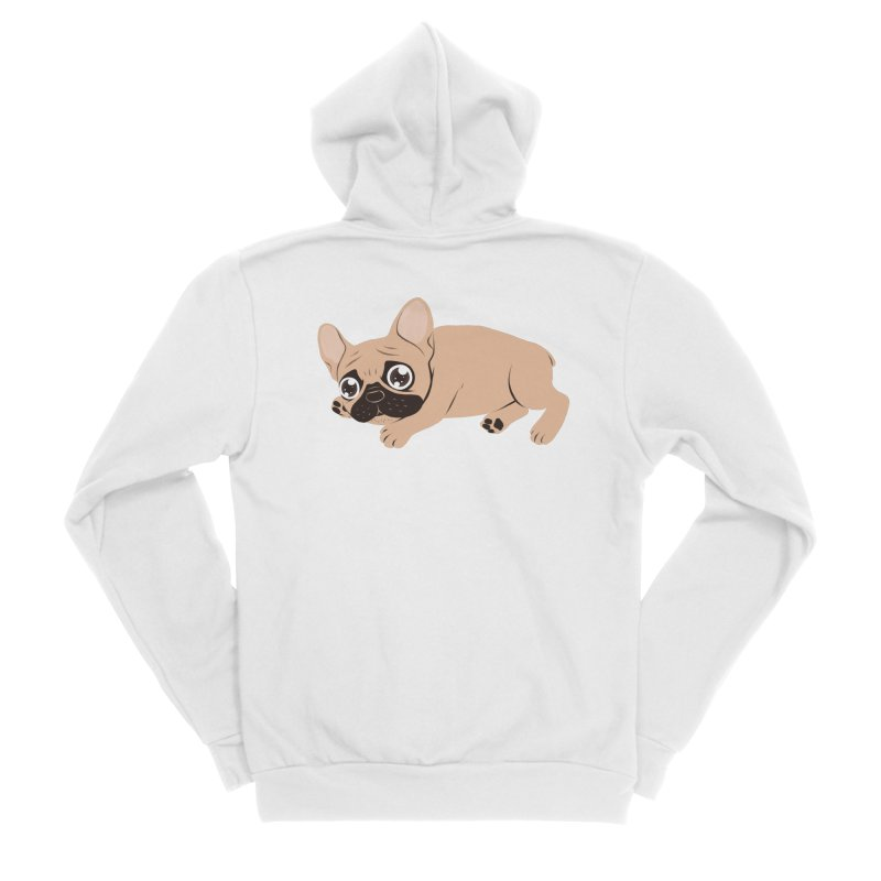 Black Mask Frenchie Puppy Needs Your Love Men's Sponge Fleece Zip-Up Hoody by Emotional Frenchies - Cute French Bulldog T-shirts