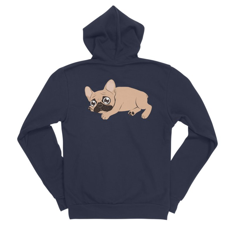 Black Mask Frenchie Puppy Needs Your Love Women's Sponge Fleece Zip-Up Hoody by Emotional Frenchies - Cute French Bulldog T-shirts