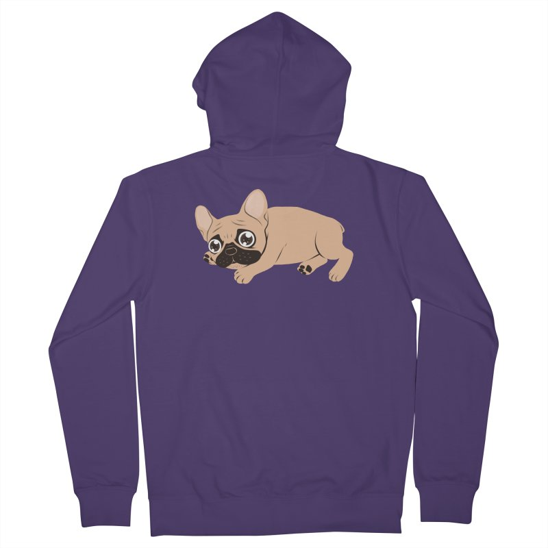 Black Mask Frenchie Puppy Needs Your Love Women's French Terry Zip-Up Hoody by Emotional Frenchies - Cute French Bulldog T-shirts