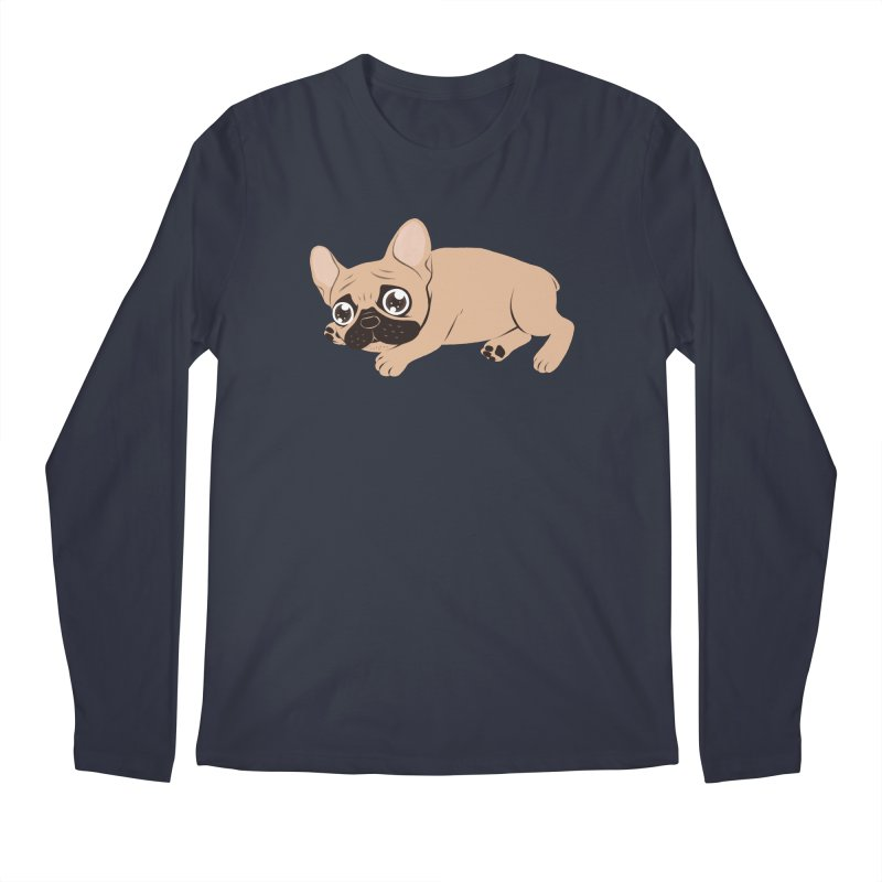 Black Mask Frenchie Puppy Needs Your Love Men's Regular Longsleeve T-Shirt by Emotional Frenchies - Cute French Bulldog T-shirts