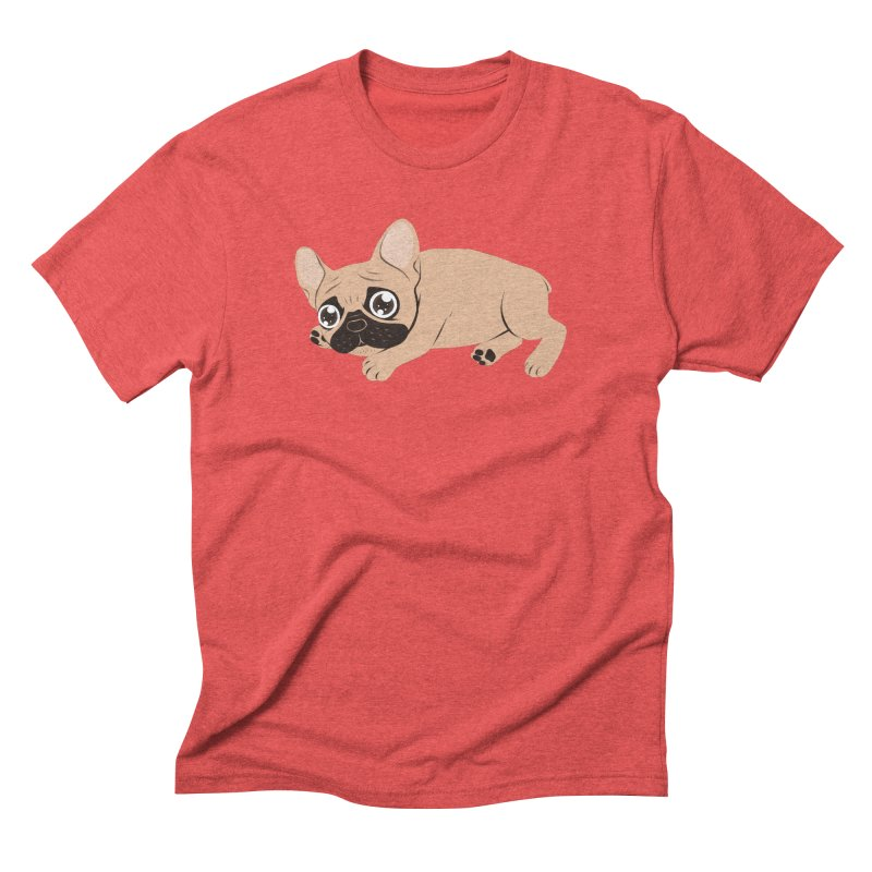 Black Mask Frenchie Puppy Needs Your Love Men's Triblend T-Shirt by Emotional Frenchies - Cute French Bulldog T-shirts
