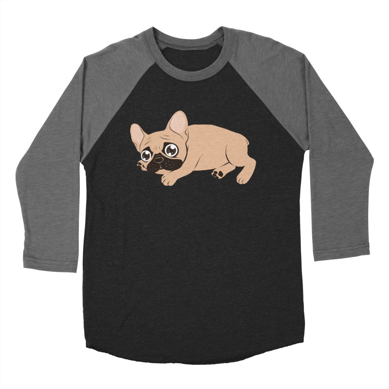 Black Mask Frenchie Puppy Needs Your Love Men's Baseball Triblend Longsleeve T-Shirt by Emotional Frenchies - Cute French Bulldog T-shirts