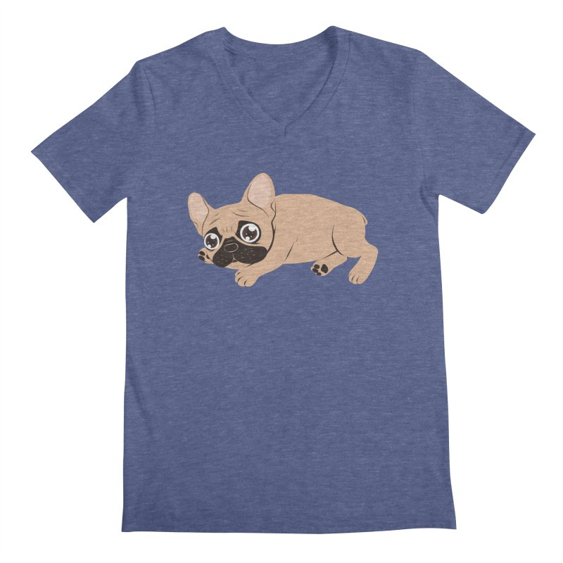 Black Mask Frenchie Puppy Needs Your Love Men's Regular V-Neck by Emotional Frenchies - Cute French Bulldog T-shirts