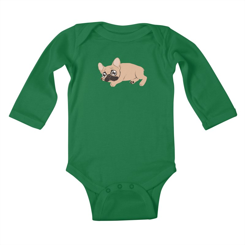 Black Mask Frenchie Puppy Needs Your Love Kids Baby Longsleeve Bodysuit by Emotional Frenchies - Cute French Bulldog T-shirts