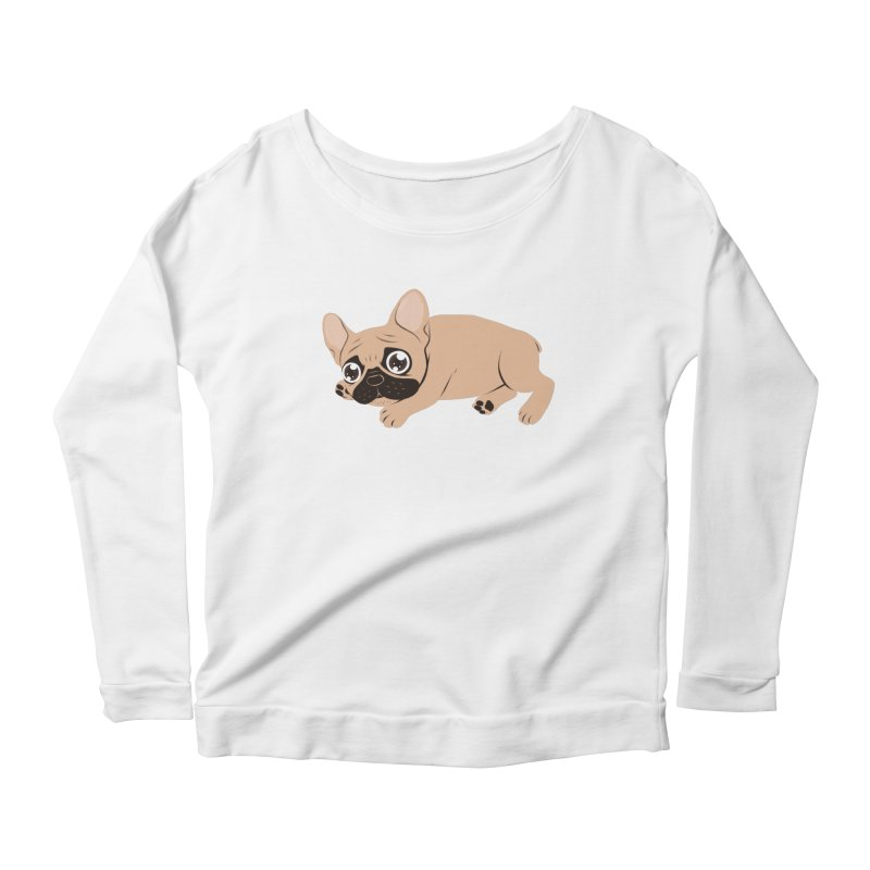 Black Mask Frenchie Puppy Needs Your Love Women's Scoop Neck Longsleeve T-Shirt by Emotional Frenchies - Cute French Bulldog T-shirts