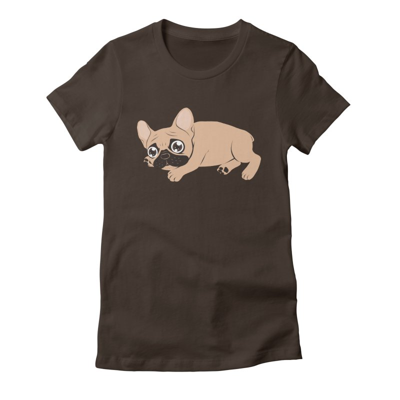 Black Mask Frenchie Puppy Needs Your Love Women's Fitted T-Shirt by Emotional Frenchies - Cute French Bulldog T-shirts