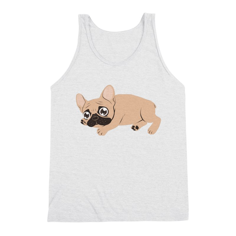 Black Mask Frenchie Puppy Needs Your Love Men's Triblend Tank by Emotional Frenchies - Cute French Bulldog T-shirts