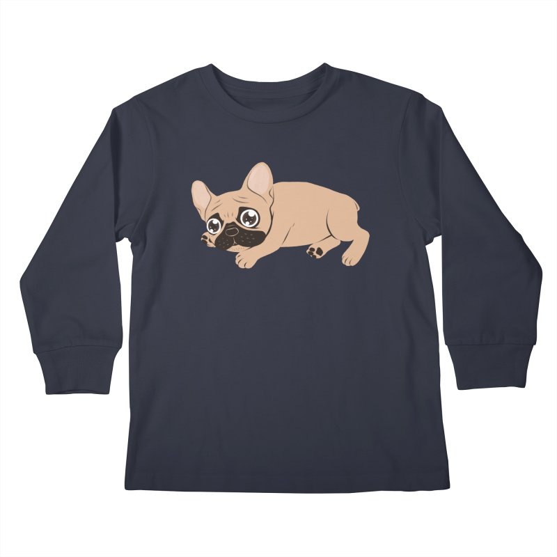 Black Mask Frenchie Puppy Needs Your Love Kids Longsleeve T-Shirt by Emotional Frenchies - Cute French Bulldog T-shirts
