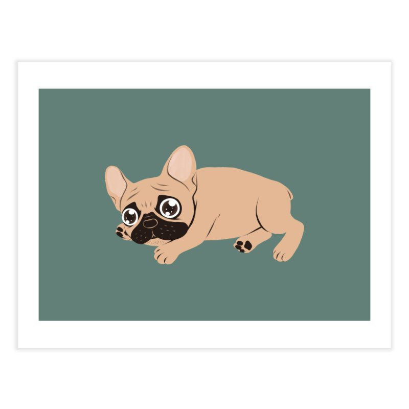 Black Mask Frenchie Puppy Needs Your Love Home Fine Art Print by Emotional Frenchies - Cute French Bulldog T-shirts