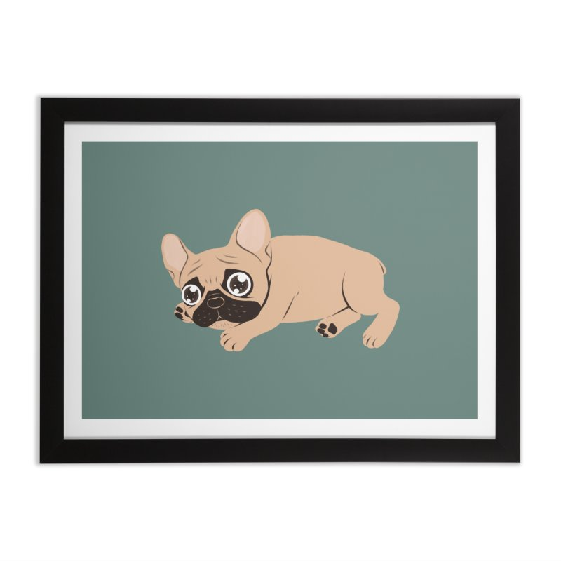 Black Mask Frenchie Puppy Needs Your Love Home Framed Fine Art Print by Emotional Frenchies - Cute French Bulldog T-shirts