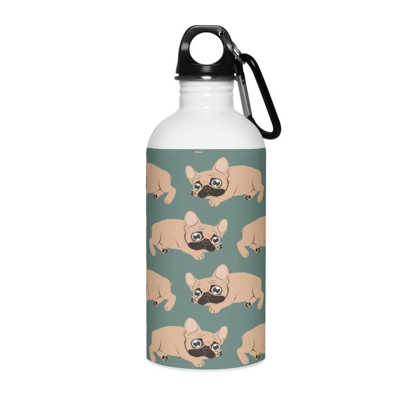 Black Mask Frenchie Puppy Needs Your Love Accessories Water Bottle by Emotional Frenchies - Cute French Bulldog T-shirts