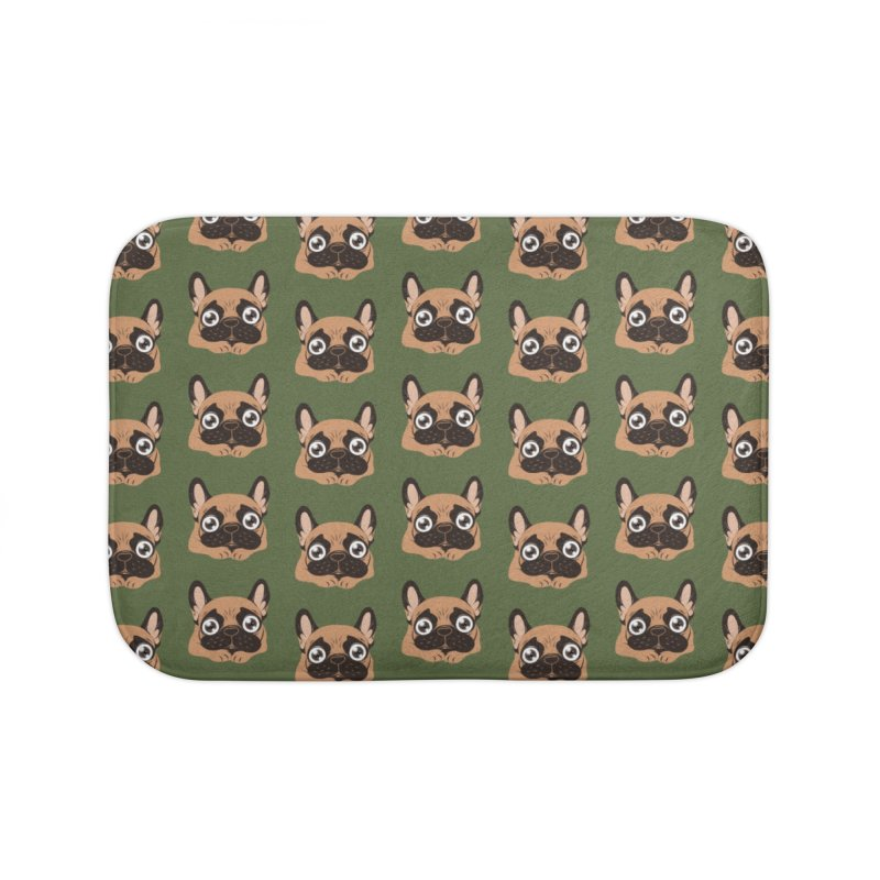 Black mask fawn Frenchie is ready to play Home Bath Mat by Emotional Frenchies - Cute French Bulldog T-shirts