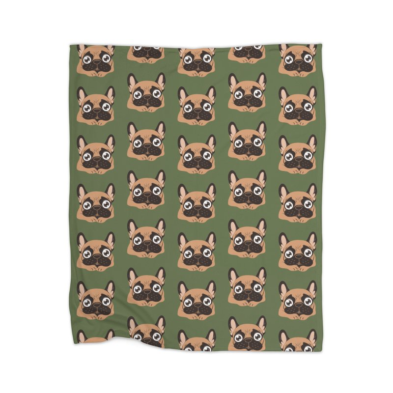 Black mask fawn Frenchie is ready to play Home Blanket by Emotional Frenchies - Cute French Bulldog T-shirts