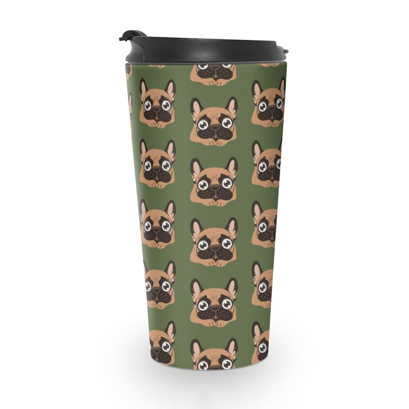 Black mask fawn Frenchie is ready to play Accessories Travel Mug by Emotional Frenchies - Cute French Bulldog T-shirts
