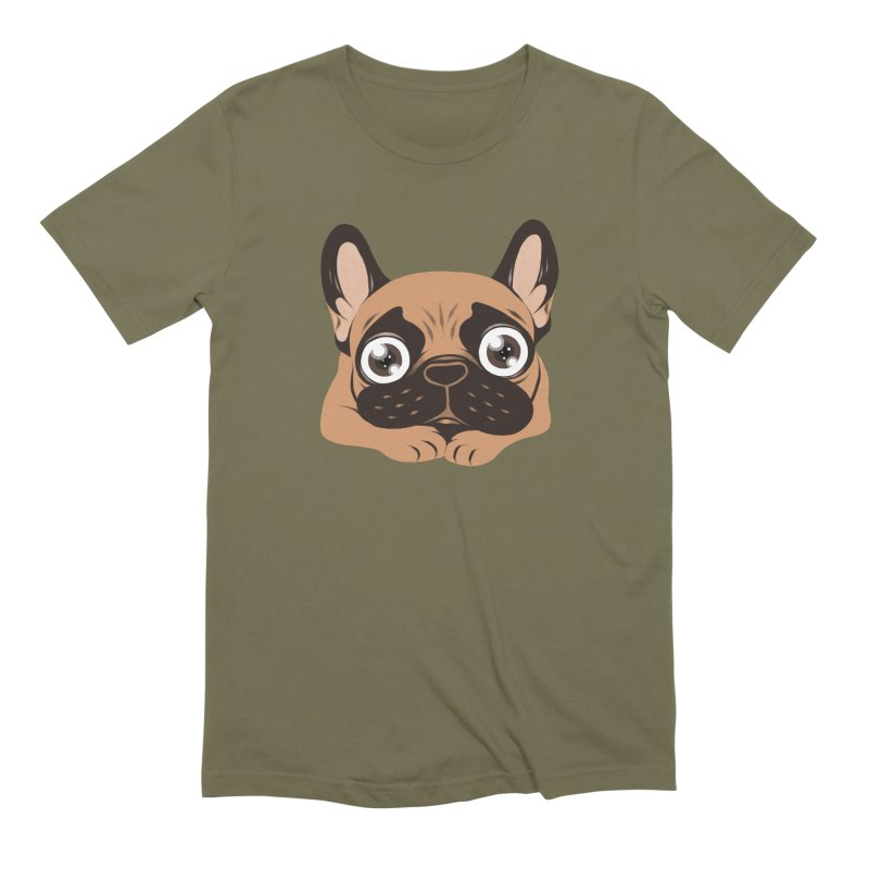 Black mask fawn Frenchie is ready to play in Men's Extra Soft T-Shirt Olive by Emotional Frenchies - Cute French Bulldog T-shirts