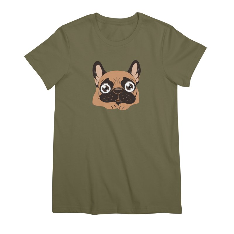 Black mask fawn Frenchie is ready to play Women's Premium T-Shirt by Emotional Frenchies - Cute French Bulldog T-shirts
