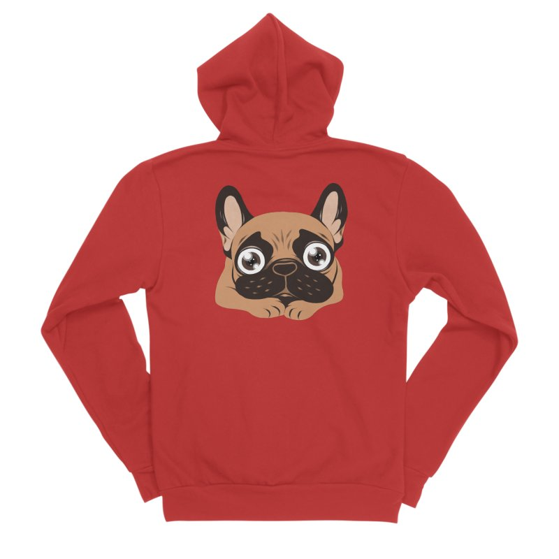 Black mask fawn Frenchie is ready to play Women's Sponge Fleece Zip-Up Hoody by Emotional Frenchies - Cute French Bulldog T-shirts