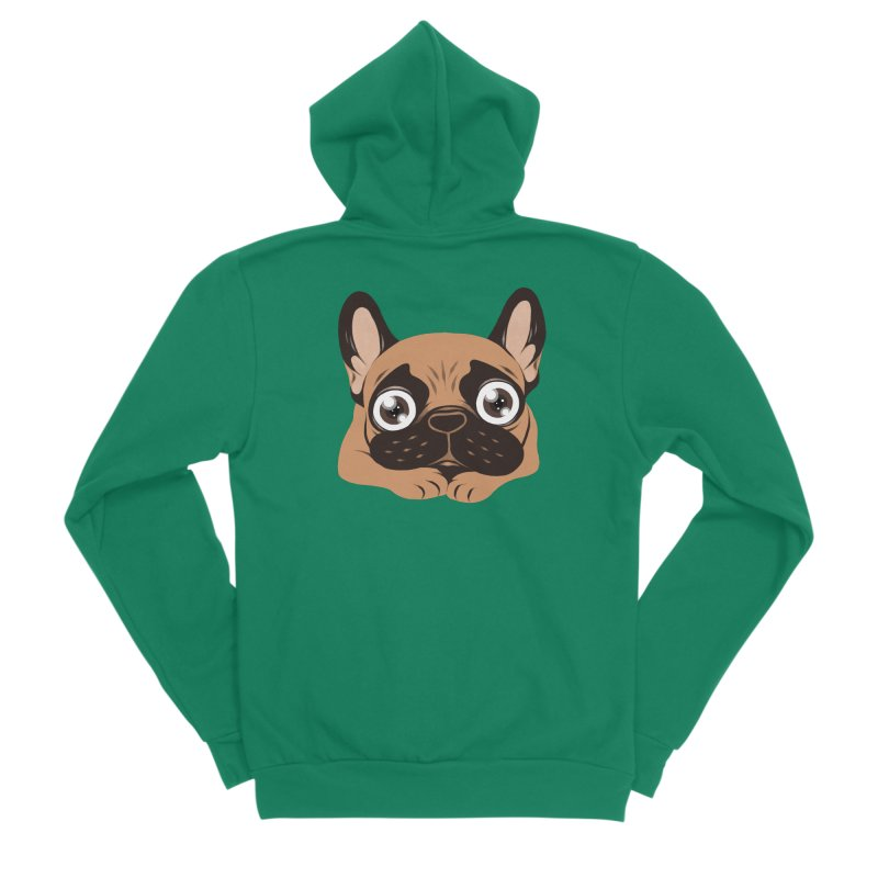 Black mask fawn Frenchie is ready to play Men's Sponge Fleece Zip-Up Hoody by Emotional Frenchies - Cute French Bulldog T-shirts