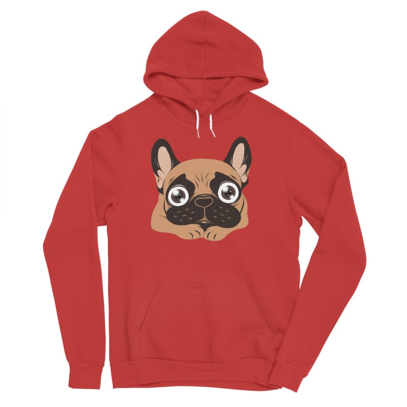Black mask fawn Frenchie is ready to play Men's Sponge Fleece Pullover Hoody by Emotional Frenchies - Cute French Bulldog T-shirts