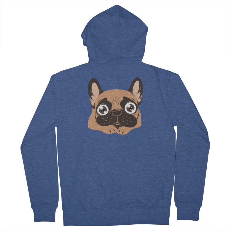 Black mask fawn Frenchie is ready to play Women's French Terry Zip-Up Hoody by Emotional Frenchies - Cute French Bulldog T-shirts