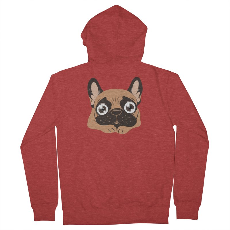 Black mask fawn Frenchie is ready to play Men's French Terry Zip-Up Hoody by Emotional Frenchies - Cute French Bulldog T-shirts