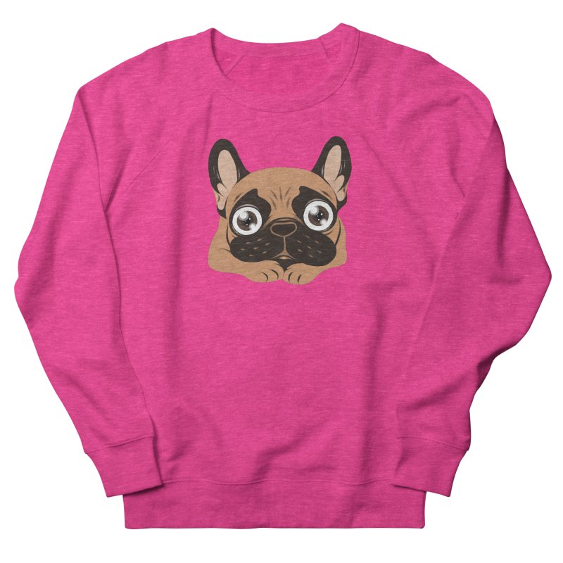 Black mask fawn Frenchie is ready to play Women's French Terry Sweatshirt by Emotional Frenchies - Cute French Bulldog T-shirts