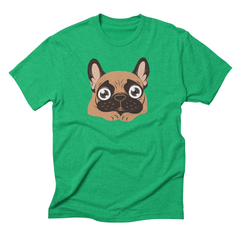 Black mask fawn Frenchie is ready to play Men's Triblend T-Shirt by Emotional Frenchies - Cute French Bulldog T-shirts