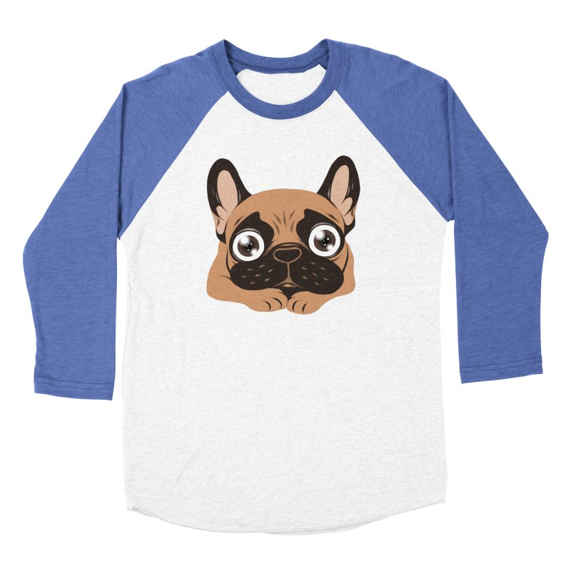 Black mask fawn Frenchie is ready to play Women's Baseball Triblend Longsleeve T-Shirt by Emotional Frenchies - Cute French Bulldog T-shirts