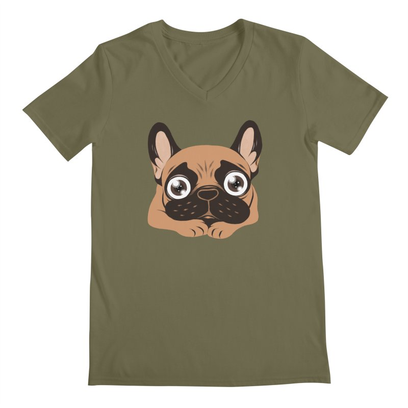 Black mask fawn Frenchie is ready to play Men's Regular V-Neck by Emotional Frenchies - Cute French Bulldog T-shirts